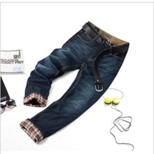 冬季新款加绒加厚男士深蓝牛仔直筒裤