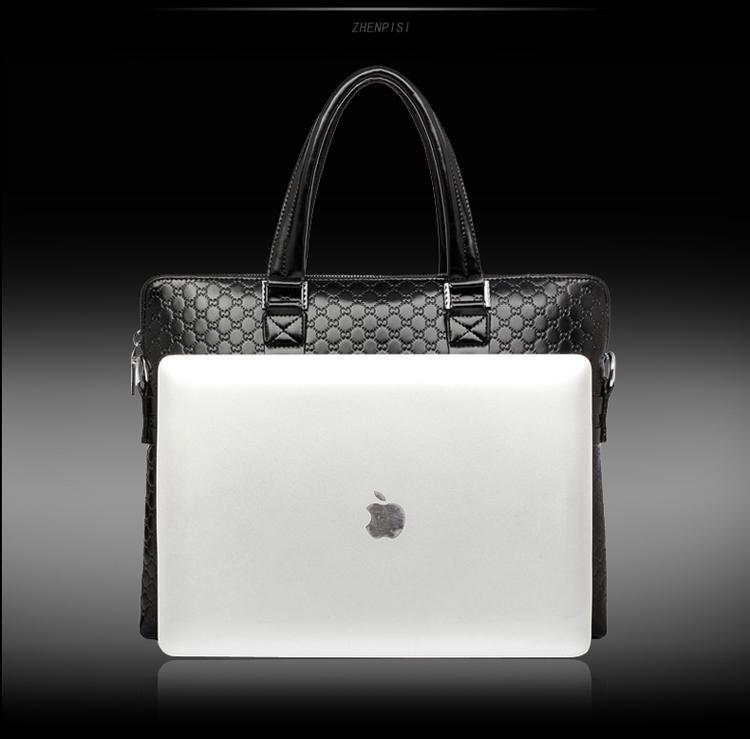 珍皮士 酷奇纹男士手提包横款商务休闲公文包 单肩斜跨包手拎包包